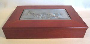 Salmon 2-D Metal Tile & Wood Box w/Lid - Alaskan Roxana Leask Native Signed Art