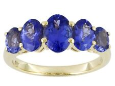 10kt yellow gold 1.54ctw oval 5-stone blue iolite ring, size 7