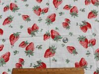 "Vintage c1940s Cotton Strawberry Conversational Printed Fabric~L-22"" X W-32"""