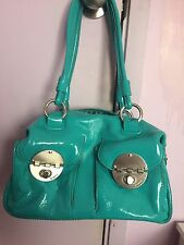Near new Mimco Mini Turnlock leather bag in Turquoise RRP$399 with dust bag