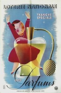 Original vintage poster FRENCH PERFUME LADY LOTTERY 1939