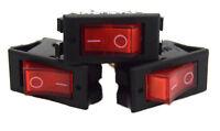 3 pack 12 Volt Lightning RED LED Rocker Mini Switch On Off Car Automotive