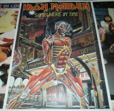 VINTAGE 80s Iron Maiden Somewhere In Time Tour Promo Poster Eddie (1986 NO LP CD