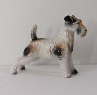 Vintage Porcelain Airedale Fox Terrier Dog Figurine Ceramic Dog Statue