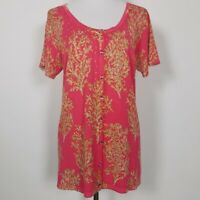 Quacker Factory Womens Sweater Size Medium Pink Cardigan Rhinestones Leaf Print