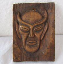Devil  evil  satan  hand carved  wall mask, head  antique carving art .... /4/