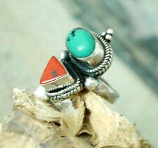 Silberring 59 Breit Türkis Koralle Antik Design MASSIV Ring Silber Muster Kordel