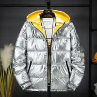 Men's Down cotton Jacket coat Winter Glossy Hooded Parka Outwear Padded Coat