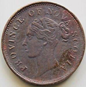 """1843 NS-2D1  Nova Scotia Canada Canadian """" Thistle """" 1  Penny Victoria Token"""