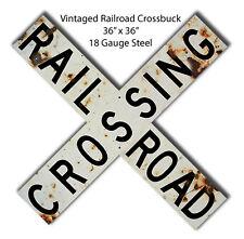 Vintage Railroad Cross buck Metal Sign 36x36