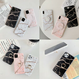 Gold Marble Case Cover With Ring Stand Holder For Samsung A71 iPhone 11 SE 2020