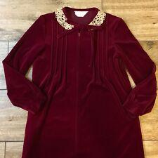 Vintage Komar Zip Front Long Burgundy Velour Robe Housecoat Woman's
