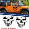 2x Reflective Skull Vinyl Side Door Tailgate Sticker Trim For Jeep Wrangler JK