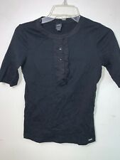 ESPIRIT Women's Black Blouse Half Front  Button Short Sleeves Size Small