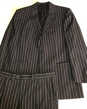 Versace Collection Navy Chalk Stripe Suit By Zegna 44R 44 R