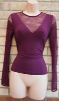 MARKS SPENCER PURPLE CRANBERRY LACE INSERTED LONG SLEEVE FIT BLOUSE TOP 10 S