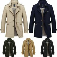 Mens Winter Trench Coat Fashion Warm Outwear Mid-long Jacket Formal Overcoat