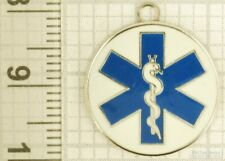 Silver-toned key chain with a silver-plated & enamel Medical Tech / EMT fob