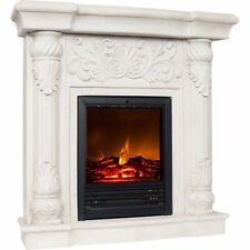 "Electric Fireplace w 41"" Mantle White Heater w Remote Polyfiber Fully assembled"