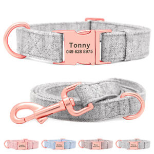 Personalised Dog Collar Nylon Custom Engraved Buckle for Dogs Puppy S M L +Lead