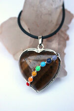 TIGERS EYE CHAKRA Natural Gemstone Diamante Birthstone HEART PENDANT NECKLACE