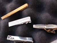 Vintage Civic Tie Bar Clip Clasp Gold Tone  + 3 Silver tone vintage tie clips