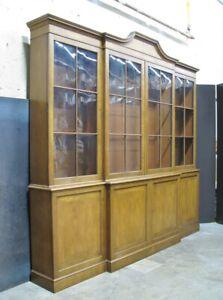 "High-End Baker Furniture Georgian Mahogany & Cherry Breakfront Bookcase 96""X90"""