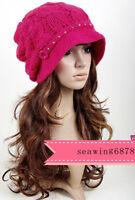 A294 Rhinestone WOMEN Cotton Knit Slouchy Beanie WINTER Ski Top Winter Hat