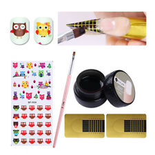 Clear Nail Art Builder Gel Extension Glue Nail Form Gel Brush Water Stickers Set
