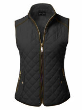 FashionOutfit Women's Quilted Suede Piping Details Gold Zipper Vest Padding