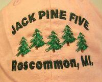 JACK PINE FIVE pink baseball cap Roscommon hat Michigan embroidery Berneice
