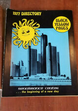 Vintage 1977 Detroit Michigan Black Yellow Pages Phone Directory Green Book