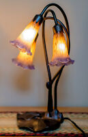 Tiffany Style LILY PAD Table Lamp with 3 Yellow/Purple Light TULIP SHADES