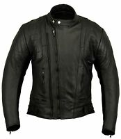Stealth Harley Style Motorbike Leather Jacket Motorcycle Protection Armour