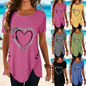 Women Tunic Long Tops Summer Short Sleeve Blouse Ladies Plus Size T Shirt Casual