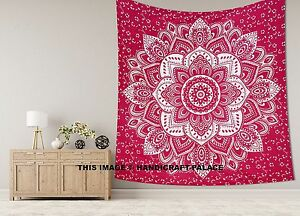 Indian Bohemian Silver Ombre Mandala King Cotton Tapestry Maroon Hippie Throw