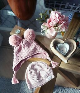 Next NEWBIE Baby Girl Pink Hats Up To 3 4 Months