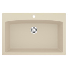 Drop-In Quartz Composite 33 in. 1-Hole Single Bowl Kitchen Sink in Bisque