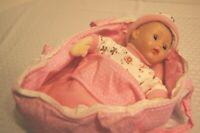 "13"" 1963 Madame Alexander Little Huggums in Pink dotted Cloth Cradle"