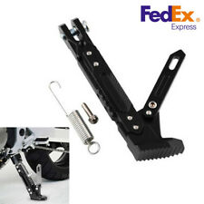 Black CNC Alloy Motorcycle Adjustable Side Tripod Holder Foot Kick Stand Support