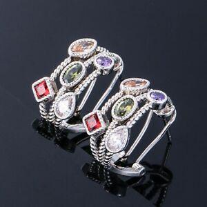 Charm 925 Silver Amethyst Ruby Gem Birthstone Wedding Couple Earrings Ear Studs