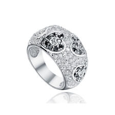 925 Sterling Silver Dome Ring, White CZ and Heart Shaped Black Stones CZ, Size 7
