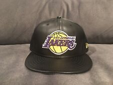 New Era 59Fifty Cap NBA Los Angeles Lakers Black Faux Leather Fitted Hat 7 1/4