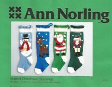 Knitted Christmas Stockings Pattern Ann Norling #1013 Nutcracker Santa Reindeer+