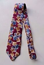 "Surrey Men's Neck Tie Burgundy With Geometric Design 100% Silk 57"""
