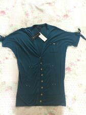 BNWT £58 FRENCH CONNECTION Short Sleeves Blouse/ Shirt-size Approx 10. Dark Blue