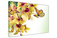 YELLOW FLOWER AND BUTTERFLY CANVAS WALL ART PRINTS FRAMED PICTURES FLORAL POSTER