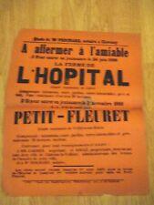 AFFICHE VENTE AUX ENCHÈRES 1888 FERME DE L'HOPITAL A LUBLÉ INDRE ET LOIRE