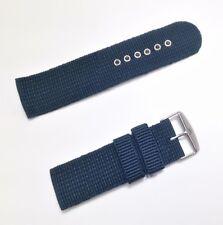 Correa de Nylon para Reloj - 24 mm - Hebilla De Metal - Azul Militar - CMILIA24