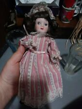 Vtg 1980s 1990s Small Porcelain Doll Antique Looking Victorian